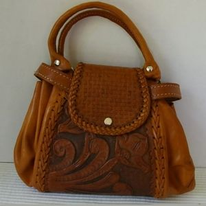 Vintage Leather Tooled Purse Handmade Boho Brown